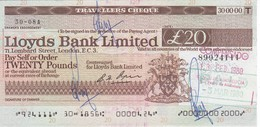 TRAVELLERS CHEQUE LLOYDS BANK 20 POUNDS AÑO 1980 - HOTEL ATALAYA - Reino Unido
