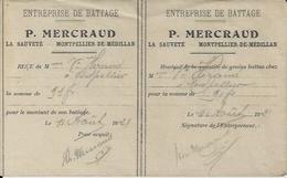 MONTPELLIER DE MEDILLAN P MERCRAUD ENTREPRISE DE BATTAGE A LA SAUVETE RECU DOUBLE ANNEE 1921 - Non Classés