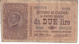 BILLETE DE ITALIA DE 2 LIRAS DEL AÑO 1914 (BANKNOTE) - [ 1] …-1946 : Royaume