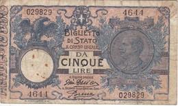 BILLETE DE ITALIA DE 5 LIRAS DEL AÑO 1904 -VITORIO EMANUELE III  (BANKNOTE) FIRMAS RARAS - [ 1] …-1946 : Reino