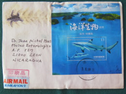 Taiwan 2018 Cover To Nicaragua - Shark S.s. - Cover Has Been Wet On The Travel - 1945-... Republic Of China