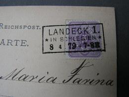 DR  Karte Laneck In Schlesien 1879 - Brieven En Documenten
