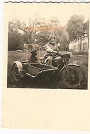 WW2 PHOTO ORIGINALE Soldat Allemand & Chien Humour Moto SIDE CAR M12 SM Fabrique Nationale à TIRLEMONT BELGIQUE BELGIË - 1939-45
