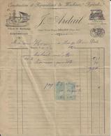 SAUJON J ARDAIL CONSTRUCTION ET REPARATIONS DE MACHINES AGRICOLES ECREMEUSES ENTETE MACHINE A VAPEUR ANNEE 1920 - Non Classés