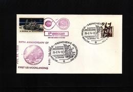 Germany / Deutschland + USA 1974 Space / Raumfahrt 5th Anniversary Of The Moon Landing Interesting Cover - Briefe U. Dokumente