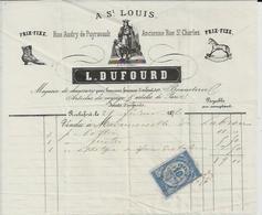 ROCHEFORT  L DUFOURD A ST LOUIS MAGASIN DE CHAUSSURES BONNETERIE JOUETS D ENFANTS ANNEE 1876 ENTETE CHEVAL - Non Classés