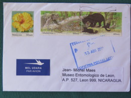Malaysia 2018 Cover To Nicaragua - Flowers Animals Pnather Wild Cats - Malaysia (1964-...)