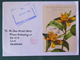 Malaysia 2018 Cover To Nicaragua - Flowers S.s. - Malaysia (1964-...)