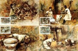 Venda - 1988 Kenneth Thabo Paintings Maxi Card Set # SG 179-182 , Mi 179-182 - Venda