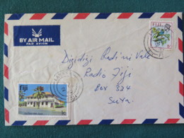 Fiji 1980 Cover To Radio Fiji, Suva - Bird - Town Hall (damaged Stamp) - Fidji (1970-...)