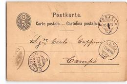 16798 01  BIGNASCO CRENTINO CEVIO CAMPO - PRESENTI PIEGHE - Interi Postali