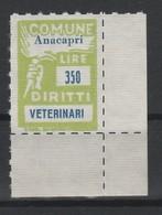Anacapri. Marca Municipale Veterinari L. 350. Nuova. - Otros