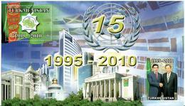 Turkmenistan.2010 Neutrality 1995-2010(Architecture,Presidents,Flag). S/S Of 2v: B, B Michel # BL33(279-80) - Turkménistan