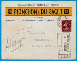 """Flamme """"Utilisez La Poste Aérienne"""" Sur Semeuse - Enveloppe à En-tête PIONCHON & DU RAGET 92 Courbevoie - Postmark Collection (Covers)"""