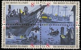 USA 1973 British Merchantman Boston Tea Party Stamps Sc#1480-83 1483a Harbor Ship Tax History - Us Independence