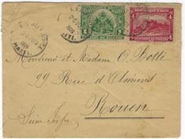 HAITI  -  Small Cover Posted Port Au Prince 26.6.1909 To Rouen, France - Michel # 104, 108 - 073 - Haïti