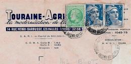 Timbres Postaux (Cérès De Mazelin + Marianne De Gandon) Sur Facture 37 TOURS (le Cachet De La Poste Faisant Foi...) - Lettres & Documents