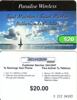 SAINT MARTIN - Paradise Wireless By ODC Recharge Card $20(large Thin CN), Used - Antillen (Nederlands)