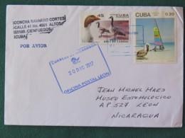 Cuba 2017 Cover To Nicaragua - Geese Pelican Bird Windsurf Beach Sport Tourism - Cuba
