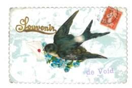 Souvenir De Void - Hirondelle Avec Lettre - Fleurs Bleue - Gaufrée - Scan Recto/Verso - 6006 - Gruss Aus.../ Gruesse Aus...