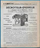 Document Publicitaire 77 FONTENAY-TRESIGNY Ets F. BROCHET Constructeurs AGRICULTURE Décrotteur-Epierreur - Agriculture