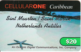 SAINT MARTIN - Beach, Starfish, Cellular One By ODC Recharge Card $20, Used - Antilles (Netherlands)