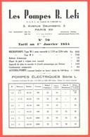 """Document Tarif """"Les POMPES R. LEFI"""" Avenue Daumesnil 75012 PARIS (Usine à 93 BAGNOLET) - Non Classés"""
