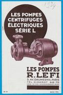 """Document Publicitaire """"Les POMPES CENTRIFUGES ELECTRIQUES"""" R. LEFI Avenue Daumesnil 75012 PARIS (Usine à 93 BAGNOLET) - Non Classés"""