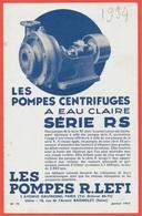 """Document Publicitaire """"Les POMPES CENTRIFUGES à EAU CLAIRE"""" R. LEFI Avenue Daumesnil 75012 PARIS (Usine à 93 BAGNOLET) - Non Classés"""