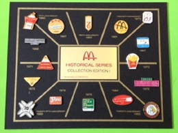 16 Pin's Mac Do McDonald's Historical Series Collection Edition I (Plus Plaque) RARE - SP63 - McDonald's
