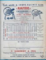 """Tarif Illustré COUPE-RACINES """"Rapide"""" Ets DE VLEESCHAUWER Frères S.A. OPHASSELT Belgique / J. ALDEBERT 59 Fresnes Escaut - Agriculture"""