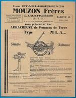 Document Publicitaire Tarif Etablissements MOUZON Frères 95 LUZARCHES - ARRACHEUSE De POMMES De TERRE ** Agriculture - Agriculture