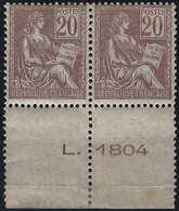 FRANCE Mouchon 1900 N°113** Bord De Feuille Numéroté 1 Par Feuille De 150 Fraicheur Postale Superbe Signé Calves - 1900-02 Mouchon