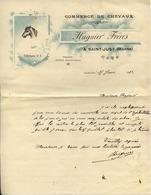 51 SAINT-JUST - Commerce De Chevaux HUGUIER FRÈRES - Lettre Illustrée 1912 - France