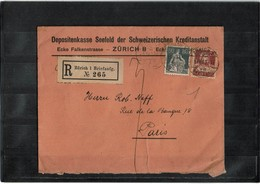 LBR26 - SUISSE LETTRE RECOMMANDEE DE LA CAISSE DE DEPÔTS ZURICH/PARIS 1/8/1923 - Suisse