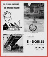 Document Publicitaire Dépliant (3 Volets) REMORQUE Ets DORISE 72 LE MANS Sarthe *** AGRICULTURE - Agriculture