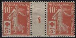 FRANCE Croix Rouge 1914 N°147**  En Paire Millésime 4 Très Frais - France