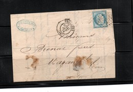 France; Cover. With 1871Ceres.  Twenty Five Cents Pale.  Blue. - 1849-1876: Classic Period