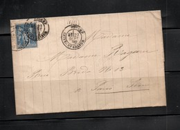 France; Cover. With .  Peace And Commerce 15 Cents Deep Blue. - 1849-1876: Classic Period