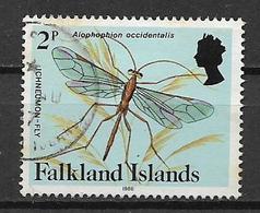 COLONIE INGLESI 1984 FALKLAND ISLANDS SERIE ORDINARIA INSETTI E FARFALLE YVERT. 460A USATO VF - Falkland