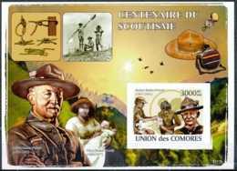 NB - [35760]BL - Union Des Comores - ND/imperf - Centenaires Du Scoutisme - Robert Baden-Powel - Olave Baden-Powel - Comores (1975-...)