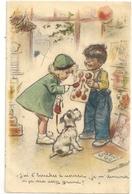 CPA.G. BOURET - J'AI 6 BOUCHES A NOURRIR JE ME DEMANDE SI CA SERA ASSEZ GRAND ?.. Ecrite Au Verso Par Un Enfant . 2 Scan - Bouret, Germaine