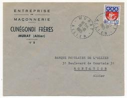 Enveloppe En-tête - Maconnerie CUNEGONDI Frères (MURAT Allier) - Cachet Tireté MURAT 1965 - Marcophilie (Lettres)