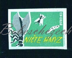 85-78 CZECHOSLOVAKIA 1963 Health - Hygiene - SUOZO Slovakia Destroy Insects - Fly Housefly , Larva , Insect - Boites D'allumettes - Etiquettes