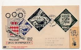 4 Valeurs P.A Jeux Olympiques D'Helsinki Sur Enveloppes Illustrées, Oblitérées En 1953 (courriers Recommandés) - Monaco