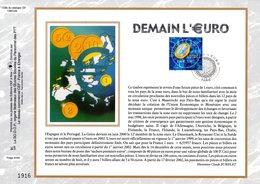 """"""" DEMAIN L'€URO """" Sur Feuillet CEF N°té En SOIE De 2001. N° 1558s. N° YT 3402. - Coins"""