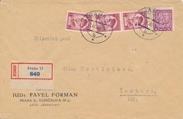 N0051 - Czechoslovakia (1935) Praha 17 (R-letter); Tariff: 3,30 Kc (stamp 30h - Shifted Perforation) - Czechoslovakia