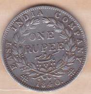 East India Compagnie 1 Rupee 1840. Victoria, En Argent - India