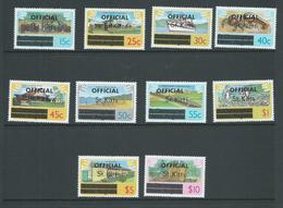 St Kitts 1980 Official Overprint Definitives Set 10 MNH - St.Kitts And Nevis ( 1983-...)