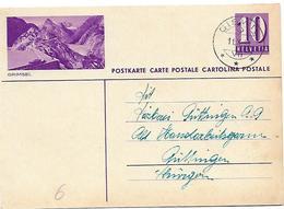 """160 - 61 - Entier Postal Avec Illustration """"Grimsel"""" Superbe Cachet à Date Giswil 1938 - Entiers Postaux"""